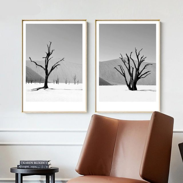 Simple Trees Grey Landscape Art Posters and Prints