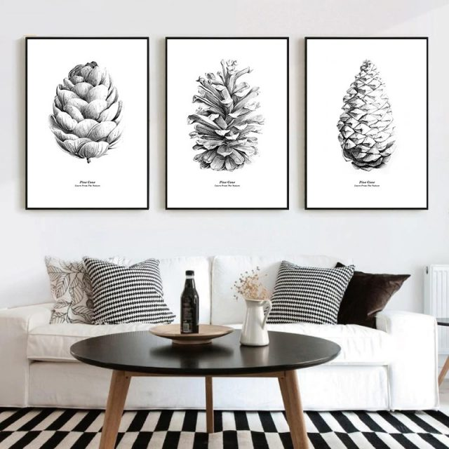 Nordic Black white Pine Cone Natural Poster and Prints