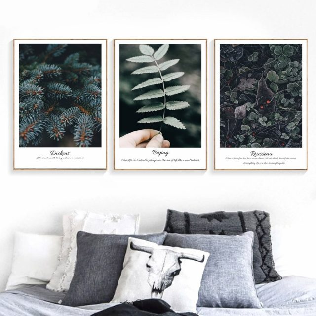 Green Leaves Cactus Wall Art Canvas Posters  1