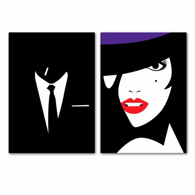 Fashion Lady And Man Wall Art Canvas Painting  1